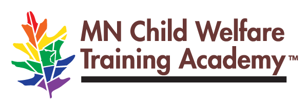 MN Child Welfare Training Academy Logo with colorful maple leave to celebrate Pride Month
